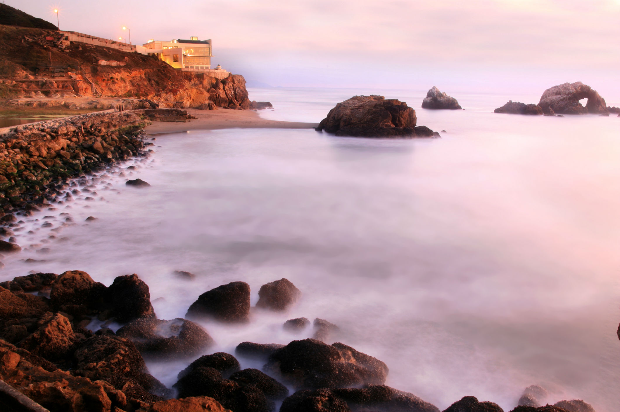 Seal Rocks and Cliff House after sunset